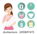 mother feeding baby with milk... | Shutterstock .eps vector #1090897475