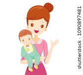 mother embracing baby with... | Shutterstock .eps vector #1090897481