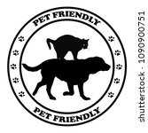 pet friendly round sign with... | Shutterstock . vector #1090900751