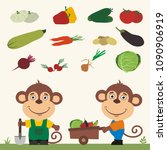 set of isolated vegetables ... | Shutterstock .eps vector #1090906919