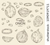 collection of with onion  rings ... | Shutterstock .eps vector #1090919711