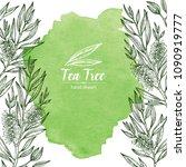 watercolor background with tea...   Shutterstock .eps vector #1090919777