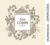 background with zira  cumin ... | Shutterstock .eps vector #1090921001