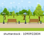 city park wooden bench  lawn... | Shutterstock .eps vector #1090922834