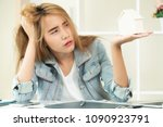 young woman is making decision... | Shutterstock . vector #1090923791