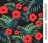 seamless pattern with tropical... | Shutterstock .eps vector #1090924757