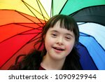portrait of little girl smiling ... | Shutterstock . vector #1090929944