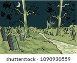cartoon creepy graveyard | Shutterstock .eps vector #1090930559