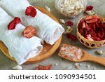 close up himalayan salt on wood ... | Shutterstock . vector #1090934501