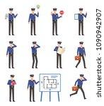 set of policeman characters... | Shutterstock .eps vector #1090942907