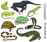 set of reptiles and amphibians. ... | Shutterstock .eps vector #1090944251