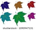 maple leaves  purple  silver ... | Shutterstock .eps vector #1090947131