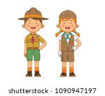 vector illustration of two kids ... | Shutterstock .eps vector #1090947197