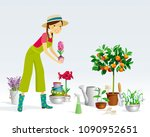gardener girl and a collection... | Shutterstock .eps vector #1090952651