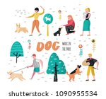 Stock vector people training dogs in the park characters walking outside with pets vector illustration 1090955534
