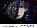 woman  numerology world and time | Shutterstock . vector #1090956239