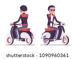 young man riding a scooter.... | Shutterstock .eps vector #1090960361
