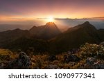 Stock photo sunrise on mountain doi luang chiang dao 1090977341