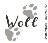 the paw print of a wolf. grey... | Shutterstock .eps vector #1090983764
