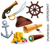 a set of pirate marine things.... | Shutterstock .eps vector #1090983947