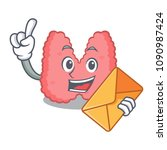 with envelope thyroid character ... | Shutterstock .eps vector #1090987424