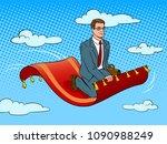 businessman flying on magic... | Shutterstock .eps vector #1090988249