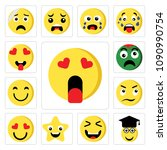 set of 13 simple editable icons ... | Shutterstock .eps vector #1090990754