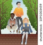 diverse group of teenagers... | Shutterstock .eps vector #1091003459