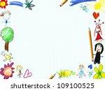 child greeting card frame... | Shutterstock . vector #109100525