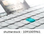 credit card payment for online... | Shutterstock . vector #1091005961