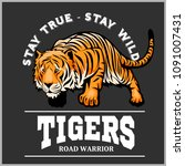 tiger in sport mascot style  ... | Shutterstock .eps vector #1091007431