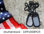american flag and soldiers tags.... | Shutterstock . vector #1091008925