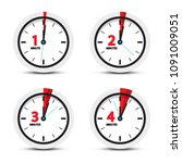 clock. 1  2  3  4 minutes time... | Shutterstock .eps vector #1091009051