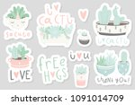 12 stickers with cute... | Shutterstock .eps vector #1091014709