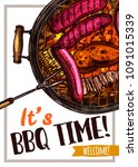 barbecue vector hand drawn... | Shutterstock .eps vector #1091015339