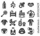 vector baby icon set in thin... | Shutterstock .eps vector #1091015429