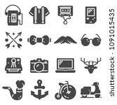 set of hipster icons set on... | Shutterstock .eps vector #1091015435