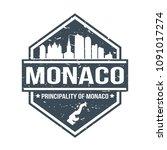 monaco europe travel stamp icon ...   Shutterstock .eps vector #1091017274