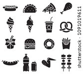 fast food icons. vector... | Shutterstock .eps vector #1091019611
