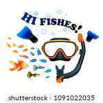 mask with snorkel and fins for...   Shutterstock .eps vector #1091022035