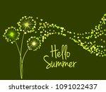 green vector dandelion herbs ... | Shutterstock .eps vector #1091022437