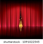 red curtain in the theater ... | Shutterstock .eps vector #1091022545