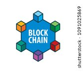 vector logo blockchain | Shutterstock .eps vector #1091025869