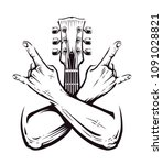 crossed hands sign rock n roll... | Shutterstock .eps vector #1091028821