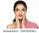 woman casual isolated on white... | Shutterstock . vector #1091035361