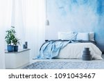 sky blue bedroom interior with... | Shutterstock . vector #1091043467