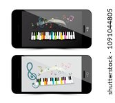 music application with piano... | Shutterstock .eps vector #1091044805