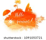 abstract painted splash shape... | Shutterstock . vector #1091053721