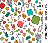 sewing and needlework. tools... | Shutterstock .eps vector #1091057147
