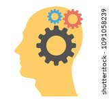a person with cogwheels... | Shutterstock .eps vector #1091058239